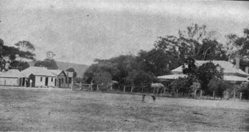 Panoramic view of Faithful's Creek Homestead. The storeroom is the centre building on the left.