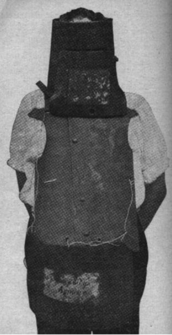 "Dan Kelly's Armour, with a ""bogus helmet"" made by the police after the Siege of Glenrowan."