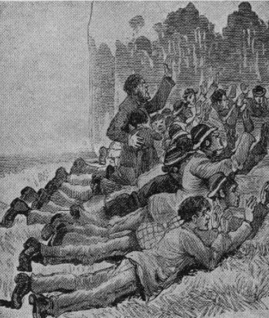 Twenty-five civilians who were permitted to leave Jones' Hotel at 10 o'clock in the morning of the siege, after being under police fire for seven hours. They were required by the police to lie on their stomachs and hold up their hands.