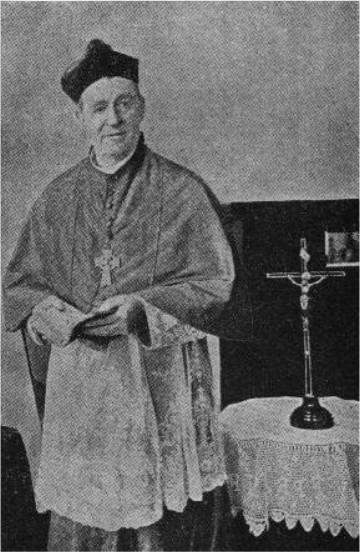 Bishop Mathew Gibney, who as Dean Gibney entered the burning hotel at Glenrowan and saved Martin Cherry from being burnt alive.