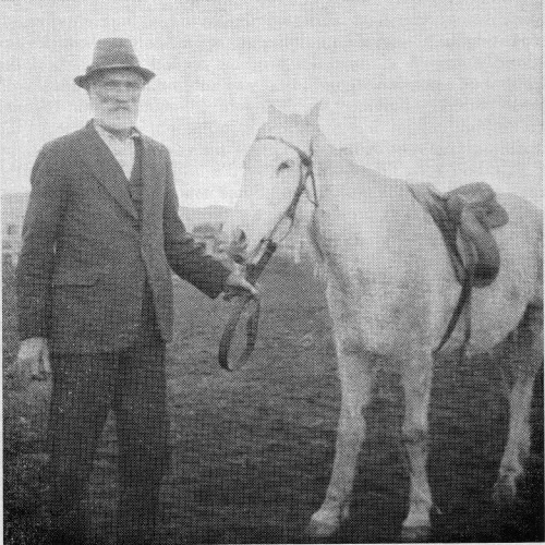 Photo taken in 1945 shows Jim Kelly, aged 85, brother of Ned and Dan, holding the reins of his mustering pony.