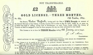 Raffaello Carboni's gold licence, miner's licence, TheEurekaStockadeRaffaelloCarboniP110